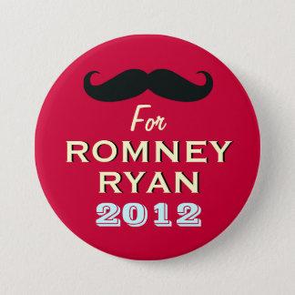Bóton Redondo 7.62cm Bigode para o botão engraçado de Romney Ryan 2012