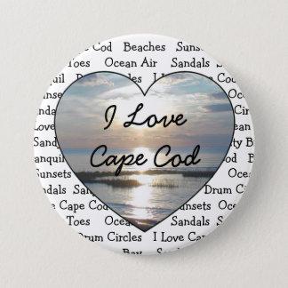 Bóton Redondo 7.62cm Eu amo o botão do coração de Cape Cod