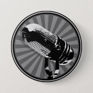 Bóton Redondo 7.62cm Gráfico retro do microfone