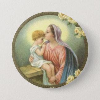 Bóton Redondo 7.62cm Mãe Mary do Virgin que beija os rosas de Jesus do