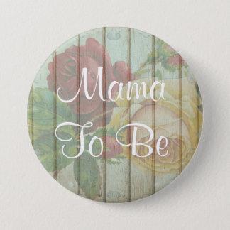 Bóton Redondo 7.62cm Mama a ser botão de madeira floral rústico do chá