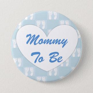 Bóton Redondo 7.62cm Mamães a ser azul do botão do chá de fraldas