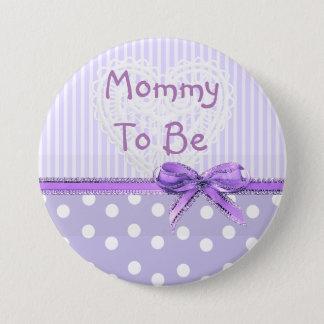 Bóton Redondo 7.62cm Mamães a ser botão do chá de fraldas: Arco roxo