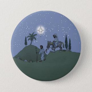 Bóton Redondo 7.62cm Mary e Joseph, cartão de Natal