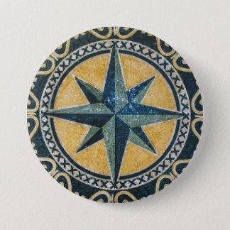 Bóton Redondo 7.62cm Mosaico redondo do medalhão do compasso verde da