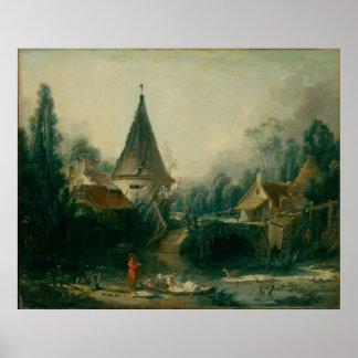 Boucher, Francois - paisagem perto de Beauvais Impressão
