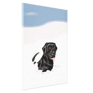 Bounder preto da neve de Labrador Impressão De Canvas Esticada