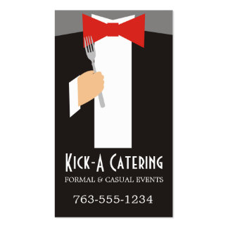 bow tie tuxedo fork chef catering business cards