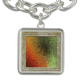 Bracelete Com Pingente Teste padrão vermelho do verde e do ouro