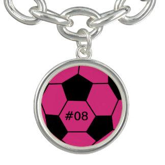 Bracelete cor-de-rosa personalizado do encanto da