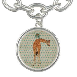 Bracelete do encanto das estrelas azuis do girafa