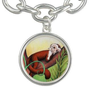 Bracelete pequeno do encanto da prata do macaco