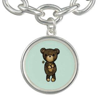 Braceletes Com Pingente Urso de Brown bonito que guardara uma flor amarela