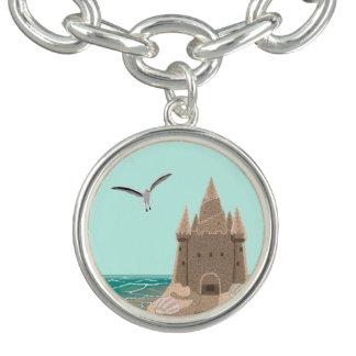 Bracente Com Charm Encanto redondo da gaivota do Sandcastle