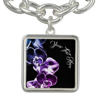 Bracente Com Charm Orquídeas personalizadas
