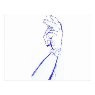 braço desenhado a mão com celular cartão postal