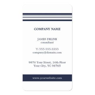 Branco azul elegante simples clássico cartão de visita