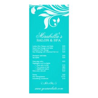 Branco azul floral da folha dos termas do cartão d 10.16 x 22.86cm panfleto