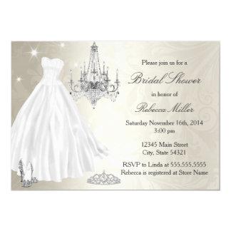 Branco bonito do creme do chá de panela do vestido convite 12.7 x 17.78cm