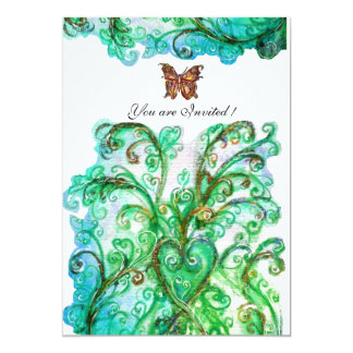 Branco brilhante do verde azul dos FLOURISHES Convite 12.7 X 17.78cm
