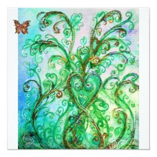 Branco brilhante do verde azul dos FLOURISHES Convite Quadrado 13.35 X 13.35cm