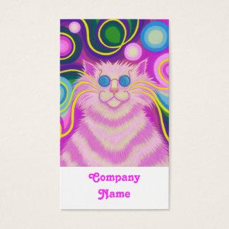 branco cor-de-rosa do retrato do Psy-gato-delic Cartão De Visitas