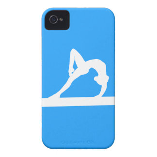 branco da silhueta do Gymnast do iPhone 4 no azul Capas Para iPhone 4 Case-Mate