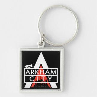 Branco do logotipo da cidade de Arkham Chaveiro Quadrado Na Cor Prata