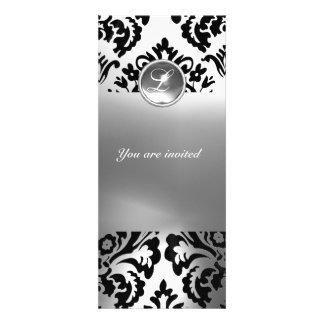 Branco do MONOGRAMA da PEDRA de GEMA do DAMASCO Convite Personalizados