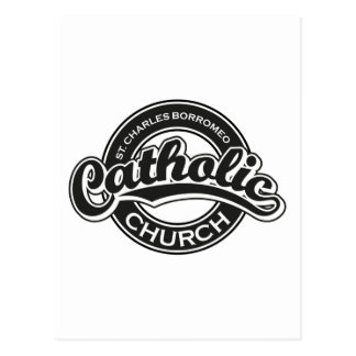 Branco do preto da igreja Católica de St Charles Cartão Postal