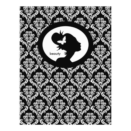 Branco do preto da silhueta da mulher da borboleta panfletos personalizados