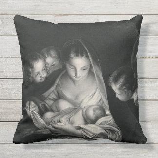 Branco do preto dos anjos da Virgem Maria de Jesus Almofada Para Ambientes Externos