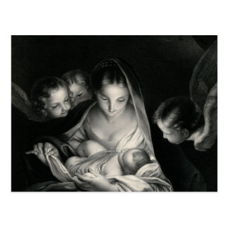Branco do preto dos anjos da Virgem Maria de Jesus Cartão Postal