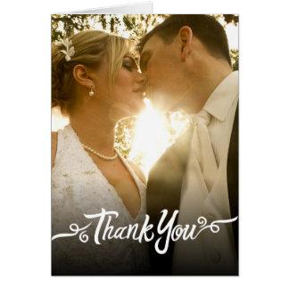 Branco dos cartões de agradecimentos do casamento