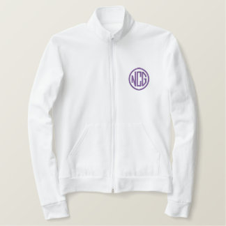 Branco e jaqueta bordada roxo do monograma