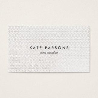 Branco elegante do planejador de evento no teste cartão de visita