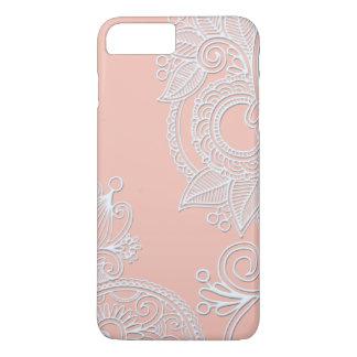 Branco em Paisley gravado rosa Capa iPhone 8 Plus/7 Plus