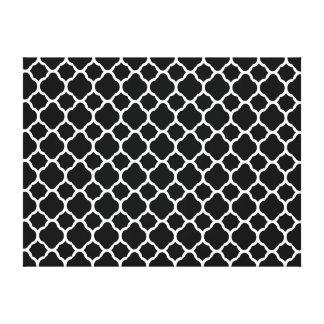 Branco em Quatrefoil preto Impressão Em Tela