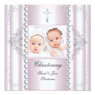 Branco gêmeo do baptismo do batismo do menino do convite quadrado 13.35 x 13.35cm
