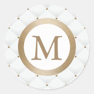 Branco luxuoso da inicial moderna do ouro do adesivo