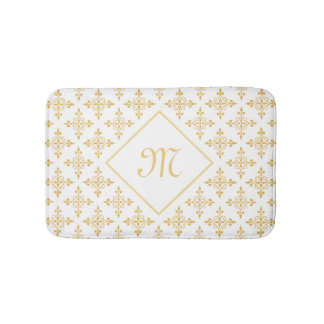Branco luxuoso do monograma e ouro Quatre floral Tapete De Banheiro