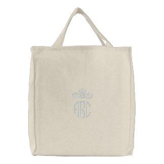 Branco no monograma branco com o saco bordado bolsas