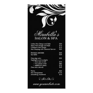 Branco preto floral da folha dos termas do cartão  panfleto personalizado