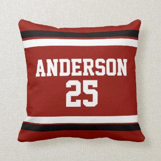 Branco preto vermelho personalizado com nome, #, travesseiros de decoração