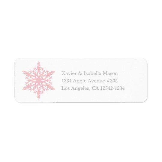 Branco/rosa do floco de neve | etiqueta endereço de retorno