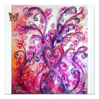 Branco roxo cor-de-rosa vermelho brilhante dos convite quadrado 13.35 x 13.35cm