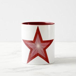 Branco vermelho da caneca do tom da estrela dois
