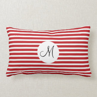 Branco vermelho personalizado da inicial do monogr travesseiro de decoração