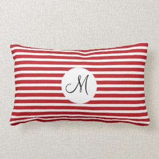 Branco vermelho personalizado da inicial do monogr travesseiros de decoração