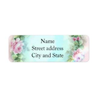 Brandamente pintura do rosa do rosa etiqueta endereço de retorno